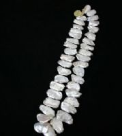 "18"" BIWA White Freshwater Pearl Necklace with 925 silver clasp"
